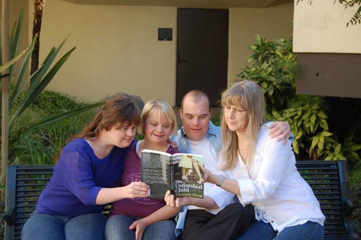 Jamie Brewer, Lauren Potter, Blair Williamson and Gail Ford Williamson